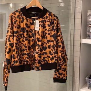 BEBE Leopard print bomber jacket